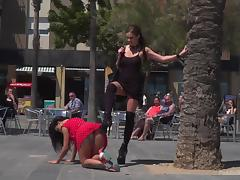 humiliated and punished by cruel mistress in public