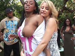 Sassy black butt lesbian loving her big tits fondled