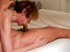 Granny Clarill suck boyfriend cum in mouth and on face