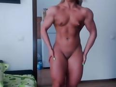 Muscle, Blonde, Flexible, Muscle, Small Tits, Bodybuilder