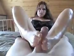 Great brunette footjob