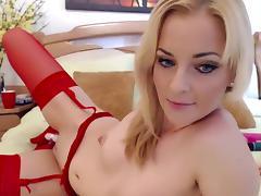 Blonde, Amateur, Blonde, Masturbation, Solo, Stockings