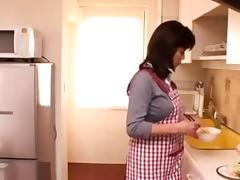 Fumie Tokikoshi kitchen sex with boy