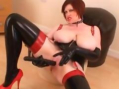 Mature British Latex Milf Dildo Big Tits