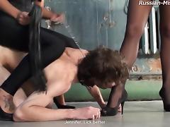 Kinky dude lets two hot dominas do naughty things to him