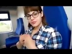 Train, Amateur, Blowjob, Brunette, Outdoor, Train