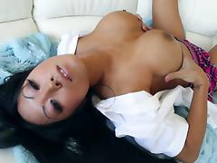 Asian porn star showcasing her juicy pussy then moaning while being throbbed hardcore