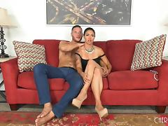 Bombastic Dana Vespoli still likes to get a pussy spooning on the bed