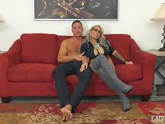 Raunchy blonde with perfect boobs gets bonked on the red couch