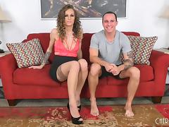 Curly-haired babe called Natasha would like to do some cock riding