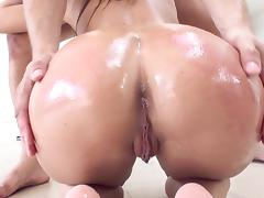 Abigail Mac throats it hard before placing it in her pussy