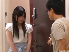 Skinny Kitano allows the nerdy dude to get deep inside her beaver