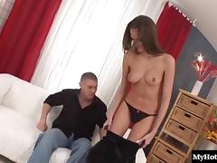 Skinny dame with natural tits having her hairy pussy throbbed hardcore