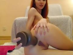 Petite Redhead Pounds Her Ass With Huge Dildo On