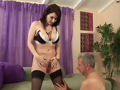 Busty bombshell Alexandra Silk has her hirsute twat plugged hard