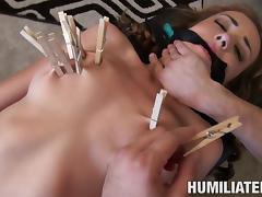 Slave eatable pussy fingered when tortured in BDSM porn