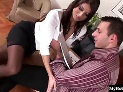 Sensual office babe gets nailed hard in a kinky MMF threesome