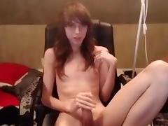 Fabulous Homemade Shemale clip with Big Dick, Masturbation scenes