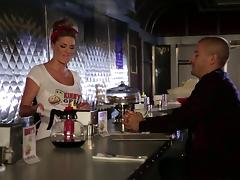 Raunchy waitress Jessa Rhodes gets fucked at the bar