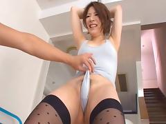 Fascinating Asian dame in nylon stockings loves tits fondling