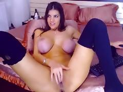 Stunning babe HotDiva19 with large breasts masturbating