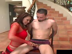 Brunette in red stockings called Eva is one hell of a cock rider!