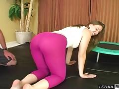 Sexy dame in gym uniform enjoying her shaved pussy fucked