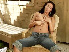Brunette honey knows how to take care of her tight cunt