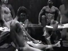 Guys in sauna