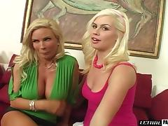 Eatable big tits blonde shaved pussy worked on hardcore in threesome porn