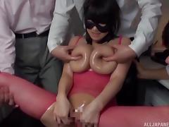 Asian woman with huge hooters likes a kinky game with toys