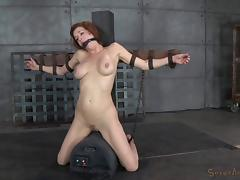 Redhead big tits slave getting face fucking in BDSM torture