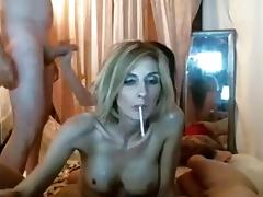 Two sluts with two guys having swinger party at home on livecam