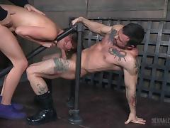 Two fat dicks for a formidable sex slave's throbbing holes