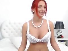 Sexy Redhead Rubs Clit Sucks Dildo