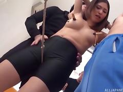 Kinky sex session with a girl who cannot resist a couple of rods