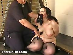 Rough beating and whipping of bbw bdsm slavegirl Emma in amateur domination of submissive masochist