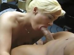 Platinum Blonde Cock Jocky Gets Cumshot