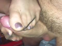 Slow footjob sexy purple polished nylon feet