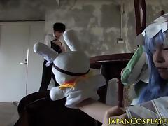 Japanese cosplay babe fucked until cumsprayed