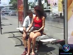 Glamorous couple  Eva and Geza doing it at public