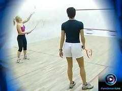 Szilvi and Kitty hot fucking area is the squash court