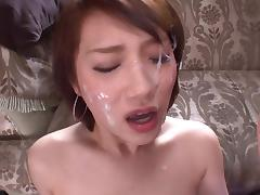 Babe, Asian, Babe, Blowjob, Cumshot, Threesome