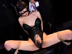 Kinky Oriental wife in lingerie explores her bondage fetish