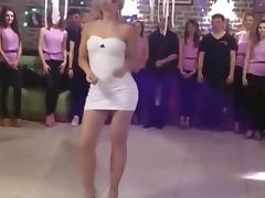 A porn party: sexy blonde in very sexy tight sexy dress dancing