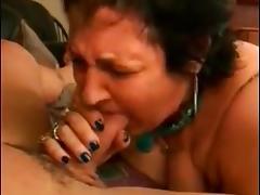 Granny gives jock hot blowjob
