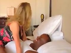 Blonde babe talks dirty to hubby as she rides bbc