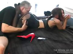 Bed, Bed, Nylon, Pantyhose, Punishment, Spanking