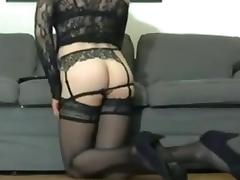 Cd - strip sexy legs high heels stockings ass and cock