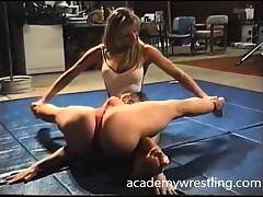 big-boob beauty and awesome facesitting in Academy Wrestling